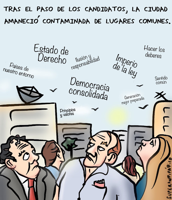 Tras el paso de los candidatos, la ciudad amaneció contaminada de lugares comunes.