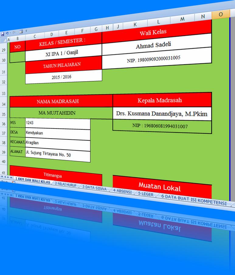 Aplikasi KKM, Leger, Absensi, Kompetensi Raport, Data Wali Kelas dan Siswa MAN Menggunakan Excel