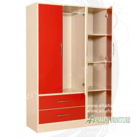 lemari pakaian minimalis modern 3 pintu bonia