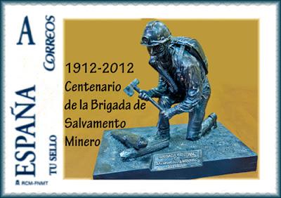 Sello personalizado de la Brigada Central de Salvamento Minero en su centenario, Sama de Langreo, Grucomi 2012