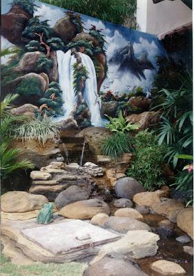Tebing dekorasi, kolam ikan, relief3D, air terjun buatan
