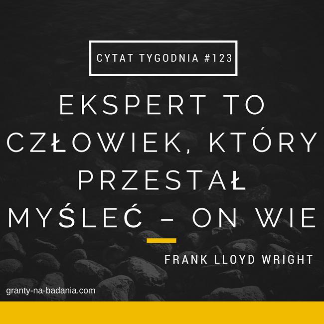 Ekspert to człowiek, który przestał myśleć – on wie. - Frank Lloyd Wright