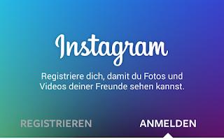 Die Anmeldeseite der Instagram-App.