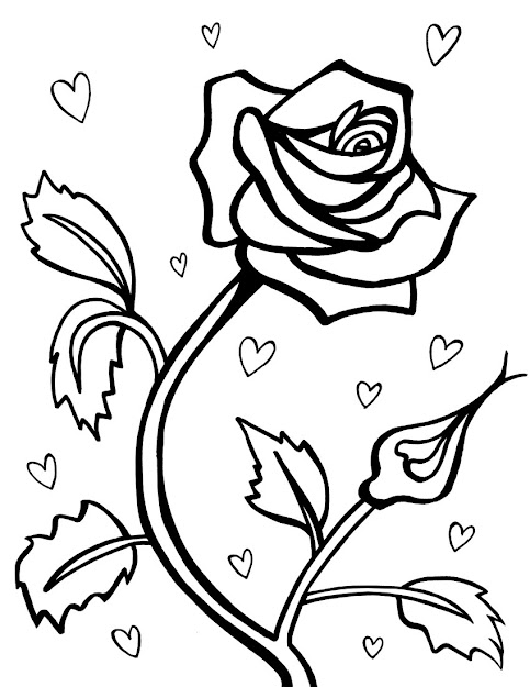 Rose Flower Coloring Page Free Printable Roses Coloring Pages For Kids