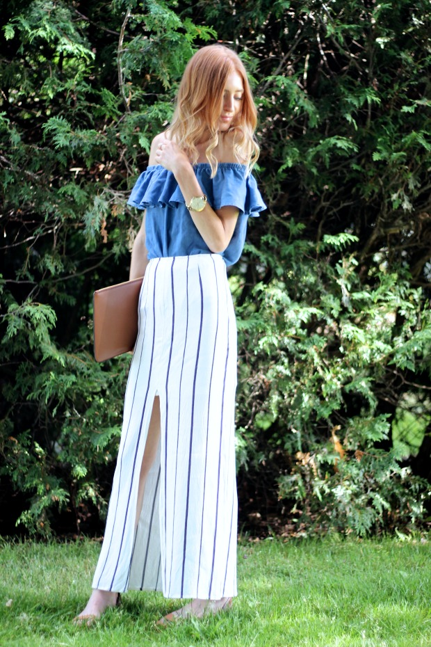 Blue and white for Summer- Tobi Crushing Hearts Striped Skirt ,Forever 21 Chambray Off the Shoulder Top