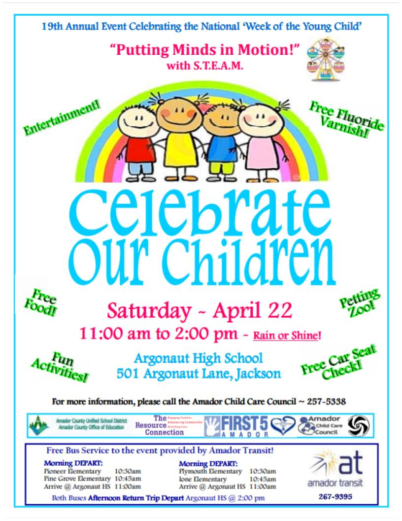 celebrate our children saturday april 22 from 11 00 am 2 00 pm at argonaut high school jackson putting minds in motion with s t e a m