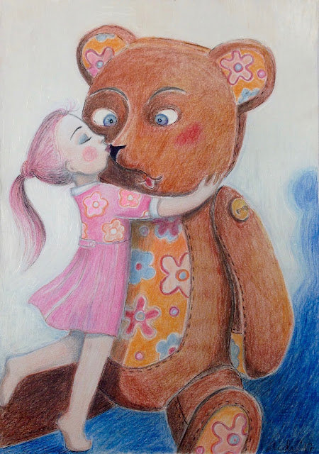 #teddybear #pink #pinkdress #flowery #kiss #kissart #illustration #drawing #Aideleit #aideart