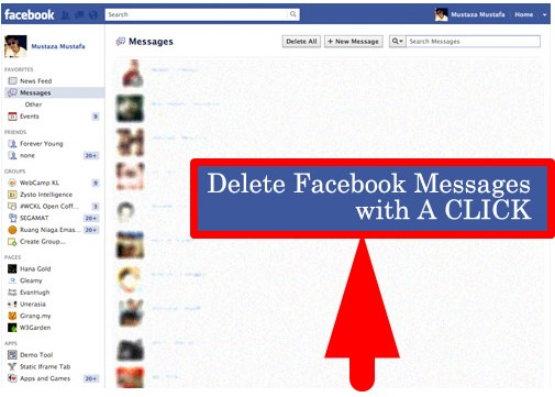 Facebook messages delete all at once