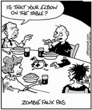 Funny Zombie Elbow Table Manners Cartoon Joke Picture