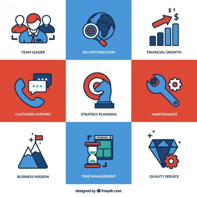 Business Services icons Free Vector