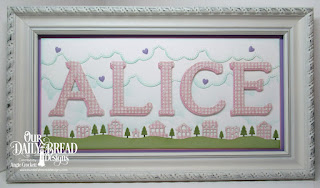 Our Daily Bread Designs Custom Dies: Neighborhood Border, Cloud Border, Letter A, Letter L, Letter I, Letter C, Letter E, Clouds and Raindrops, Paper Collection: Shabby Rose