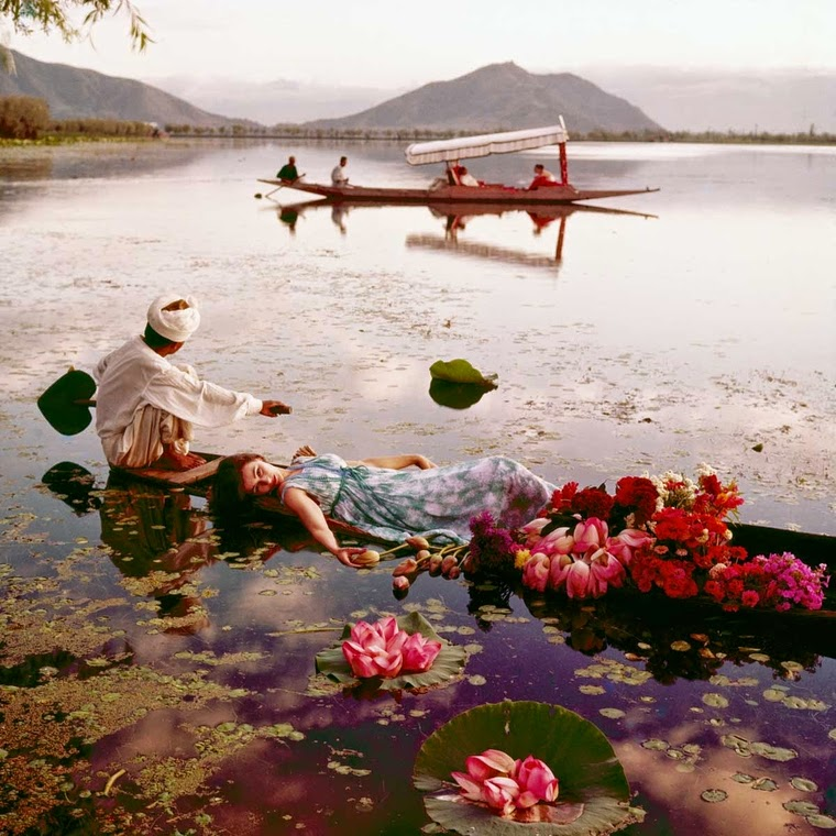 Floating with Flowers - Dal Lake, Srinagar, Kashmir, India, November 1956