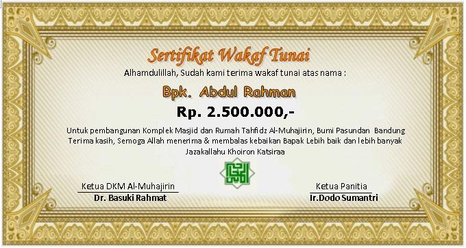contoh sertifikat wakaf masjid