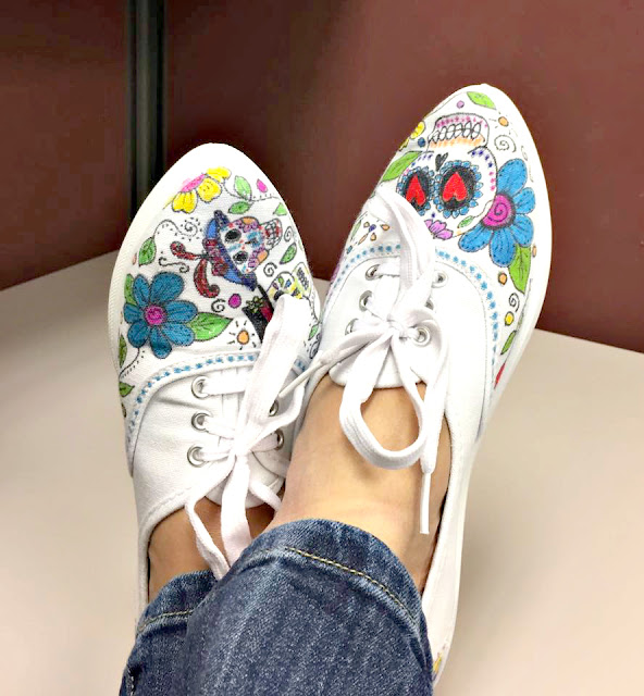 Day of the Dead doodle shoes by Sherri Stokey.