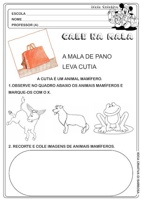 Atividade Projeto Cabe na mala Mamíferos