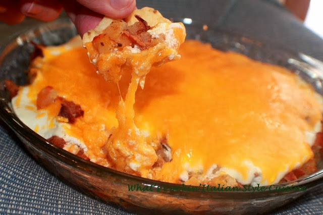 This is a great bacon and cheese loaded potato dip it has hot sauce, sour cream in it