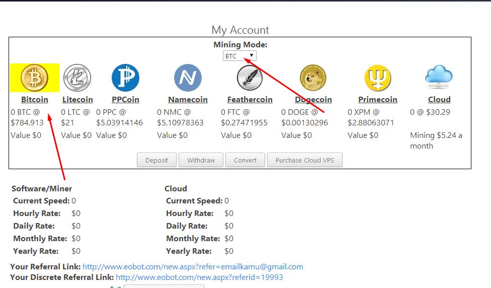 cara indėlis bitcoin di eobot