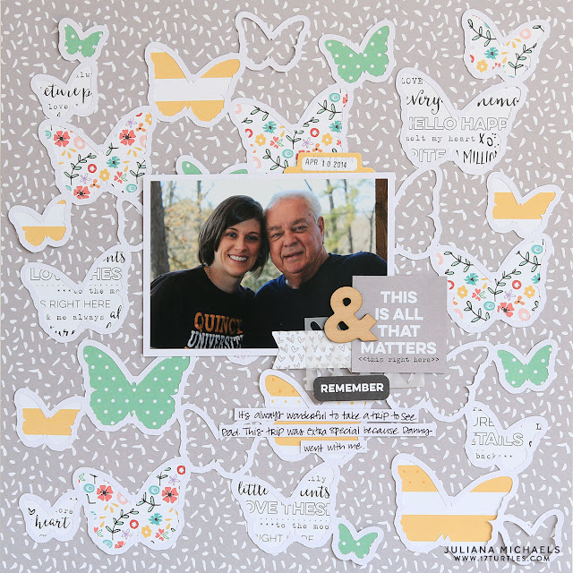 All That Matters Scrapbook Page by Juliana Michaels featuring Butterfly Frenzy Free Digital Cut File and Elle's Studio