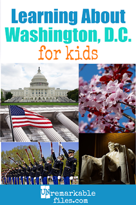 How much do your kids know about Washington, D.C.? Free resources for a lesson plan or homeschool unit on the US capital, including videos, links, tons of suggestions for fiction and non-fiction books set in DC, and photos from our visit! #washington #washingtondc #dc #educational #learning #homeschool #unitstudy #unremarkablefiles