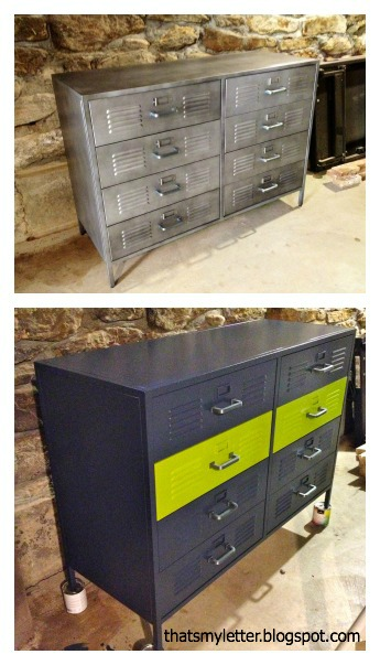 pottery barn locket style dresser before and after