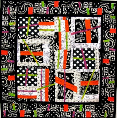 free form art quilt black and white