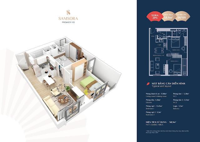 Thiết kế căn hộ 06 và 09 loại 2 phòng ngủ