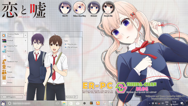 Windows 10 Ver. 1703 Theme Koi to Uso by Enji Riz
