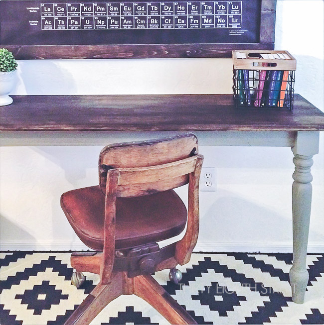repurposing a table into a desk, farmhouse desk, farmhouse table, cutting a table into two desks, diy desk, kids desks