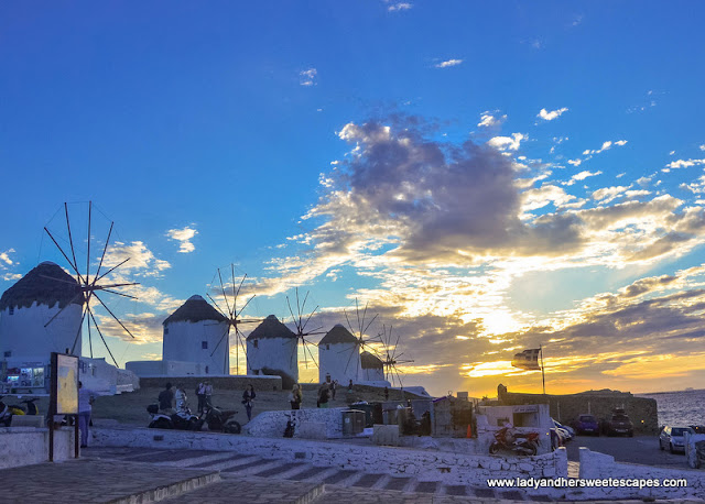 Kato Mili windmills at sunset