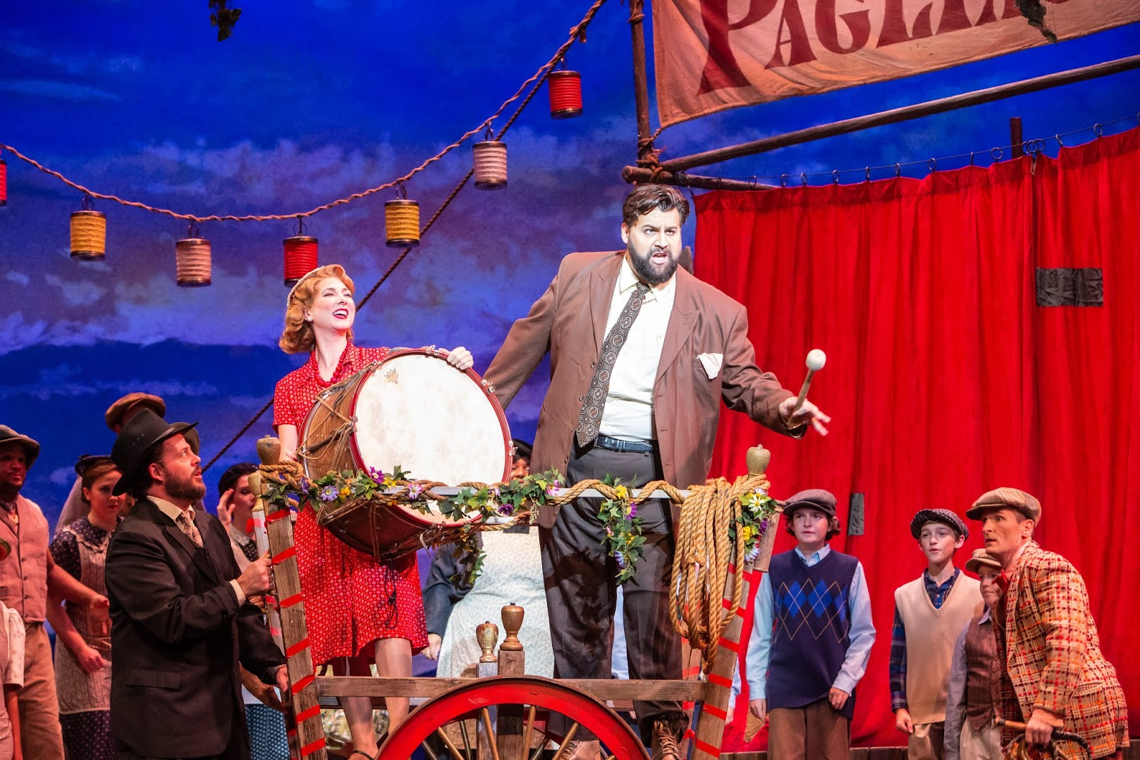 IN REVIEW: soprano SUZANNE KANTORSKI as Nedda (center left) and tenor BRANDON SCOTT RUSSELL as Canio (center right) in Greensboro Opera's November 2019 production of Ruggero Leoncavallo's PAGLIACCI [Photograph by Becky VanderVeen, © by VanderVeen Photography & Greensboro Opera]