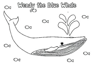 Blue Whales On Sea Coloring Sheet