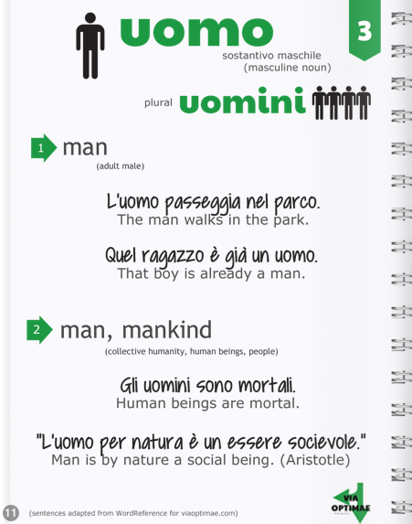 n.003 UOMO definition and examples in ITALIAN: The most-used nouns http://joom.ag/2tOX