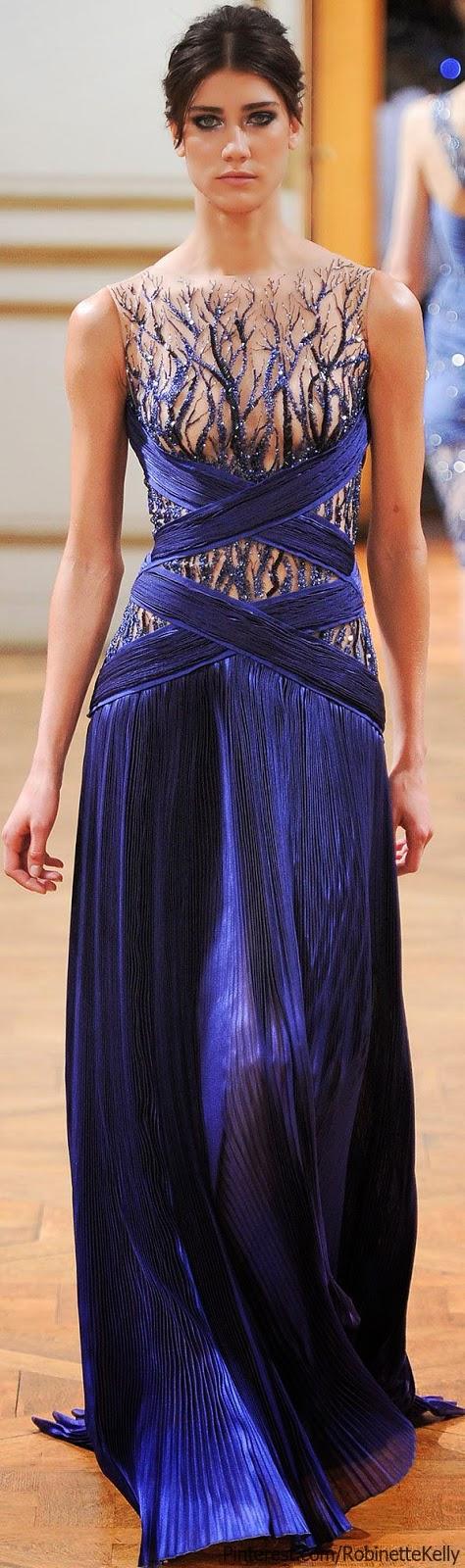 pretty dark blue Zuhair Murad gown, F/W 2013