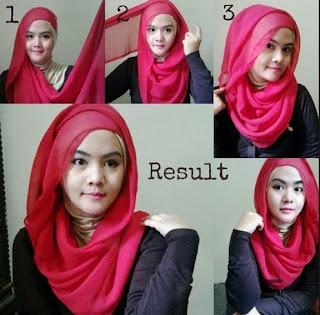 Tutorial hijab segi empat wajah bulat remaja