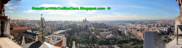 Panorama from the southern face of , Almudena Cathedral, Madrid, Spain. Basilica of San Francisco el Grande can be spotted in the centre