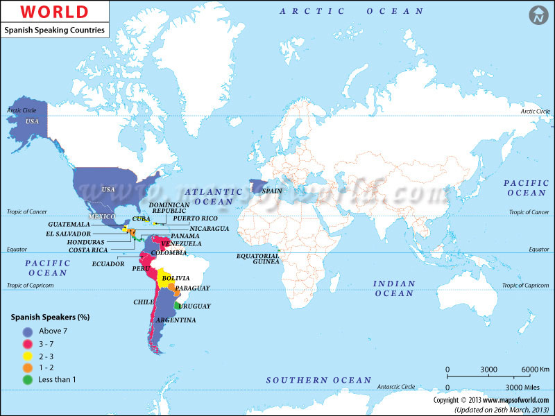 21 spanish speaking countries map with no names pizza