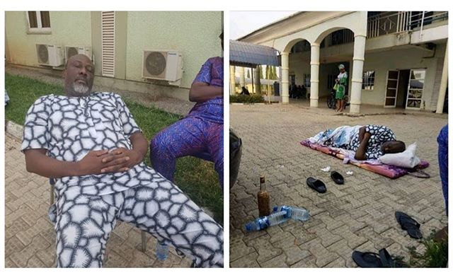 See How Nigeria Police Humiliates Senator Dino Melaye In Public, Laid Him On The Ground In Front Of DSS Medical Facility