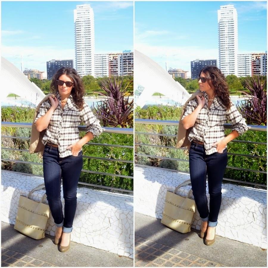 mi vestido azul, look, castellón, blog de moda, camisa de cuadros, blogger, fashion