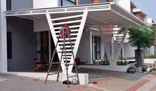 Rangka kanopi rumah desain minimalis modern