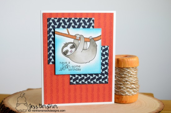 Have a Sloth-some Birthday by Jess featuring In Slow Motion by Newton's Nook Designs, #newtonsnook