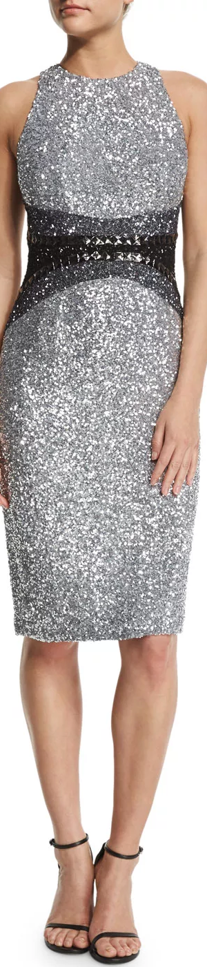 Pamella Roland Sleeveless Embellished Cocktail Dress, Silver/Pewter/Black