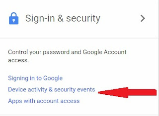 google divice activity& security events
