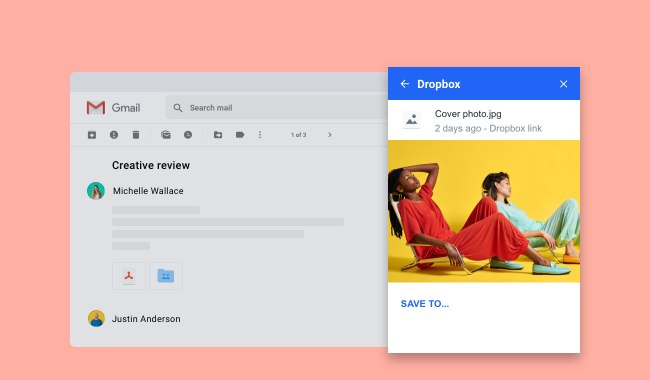 Dropbox for Gmail add-on launched, View, store, and share any file without leaving your Gmail inbox