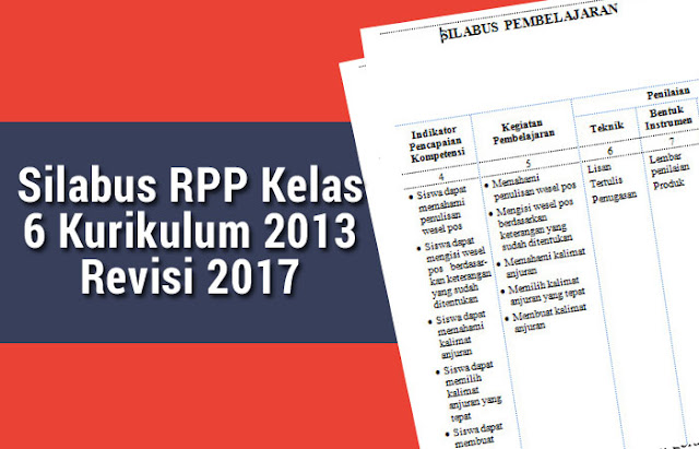 Silabus RPP Kelas 6 Kurikulum 2013 Revisi 2017