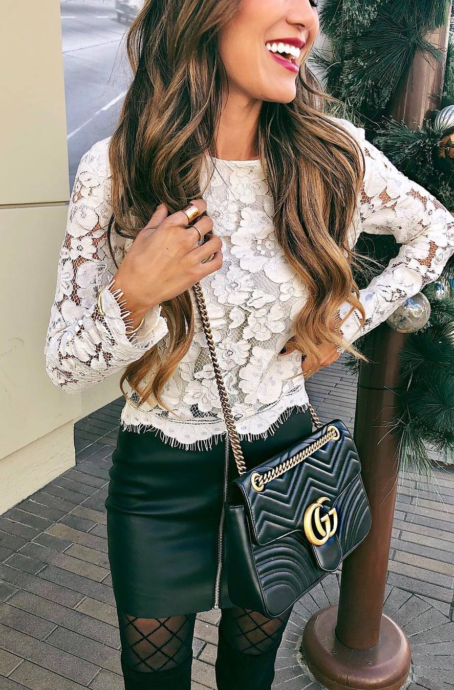 what to wear on christmas party : white lace top + bag + leather skirt + over knee boots