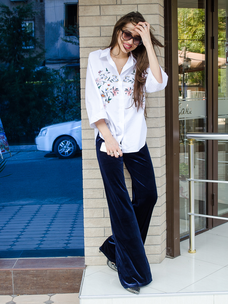 fashion blogger diyorasnotes velvet pants shirt with embroidery