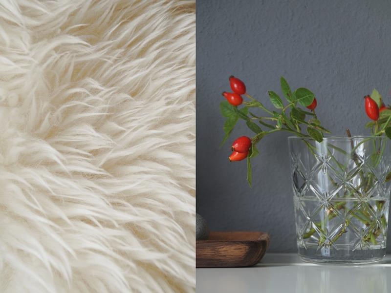 Herbstdeko im schlichten skandinavischen Stil Ideen, Tipps und Inspiration: Hagebutten, Farben, Felle, Wohntextilien und mehr