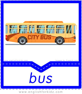 bus, free printable transport flashcards