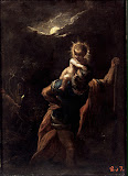 Saint Christopher (Oil on Copperplate, 1598/99 - Religious, History) by Adam Elsheimer