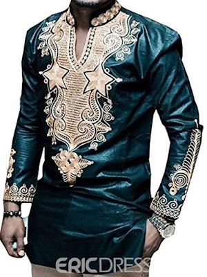 Dashiki African Print V-Neck Vogue Men's Shirt